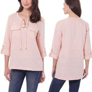 NWT Company Ellen Tracy Linen Tunic Blouse XL